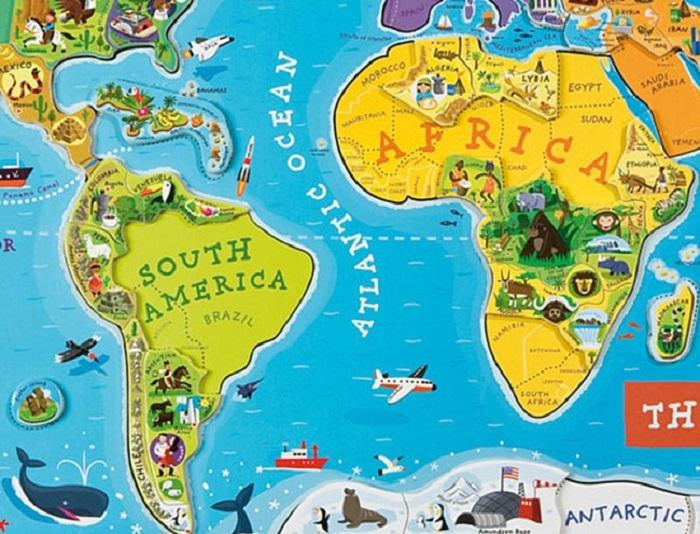 Karta sveta za otroke je že na prvi pogled drugače zasnovana od kart, ki jih uporabljamo odrasli